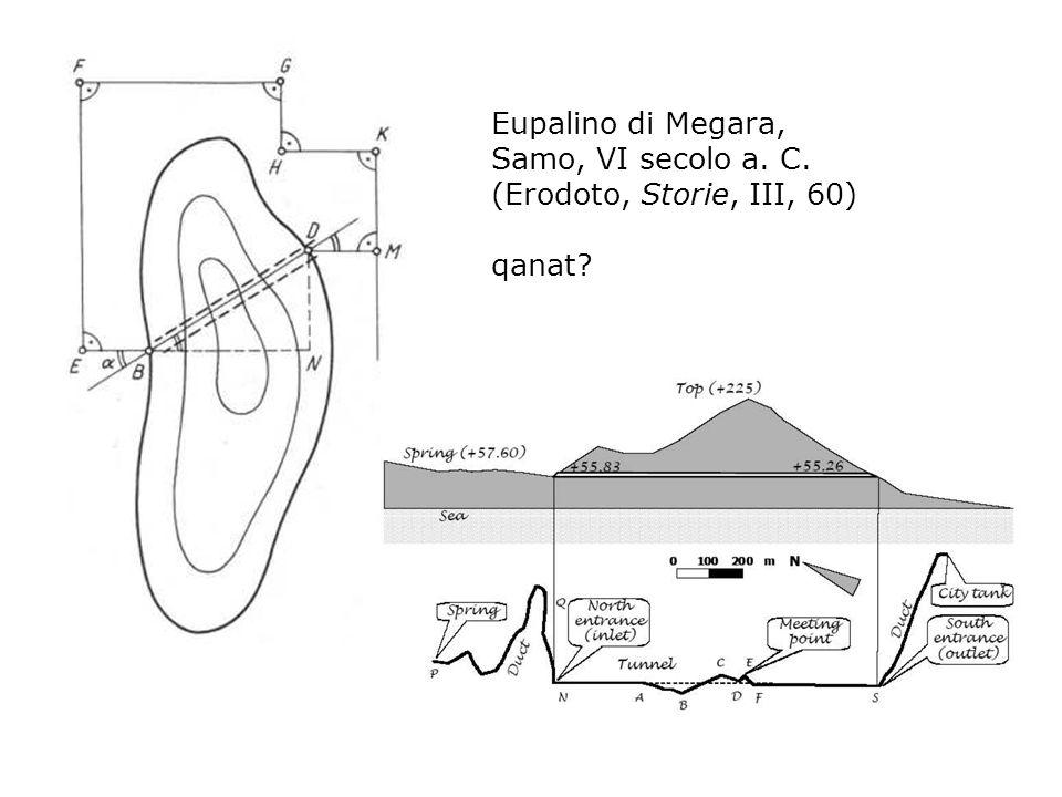 Eupalino di Megara, Samo, VI secolo a. C. (Erodoto, Storie, III, 60) qanat