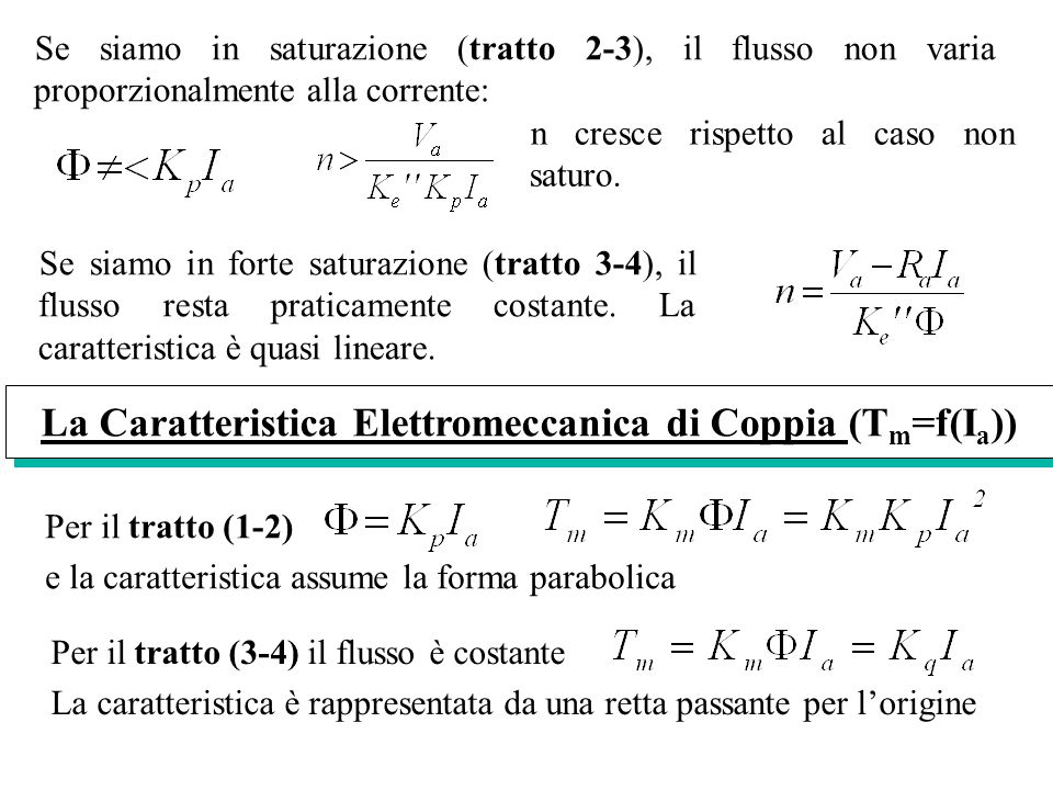 La Caratteristica Elettromeccanica di Coppia (Tm=f(Ia))