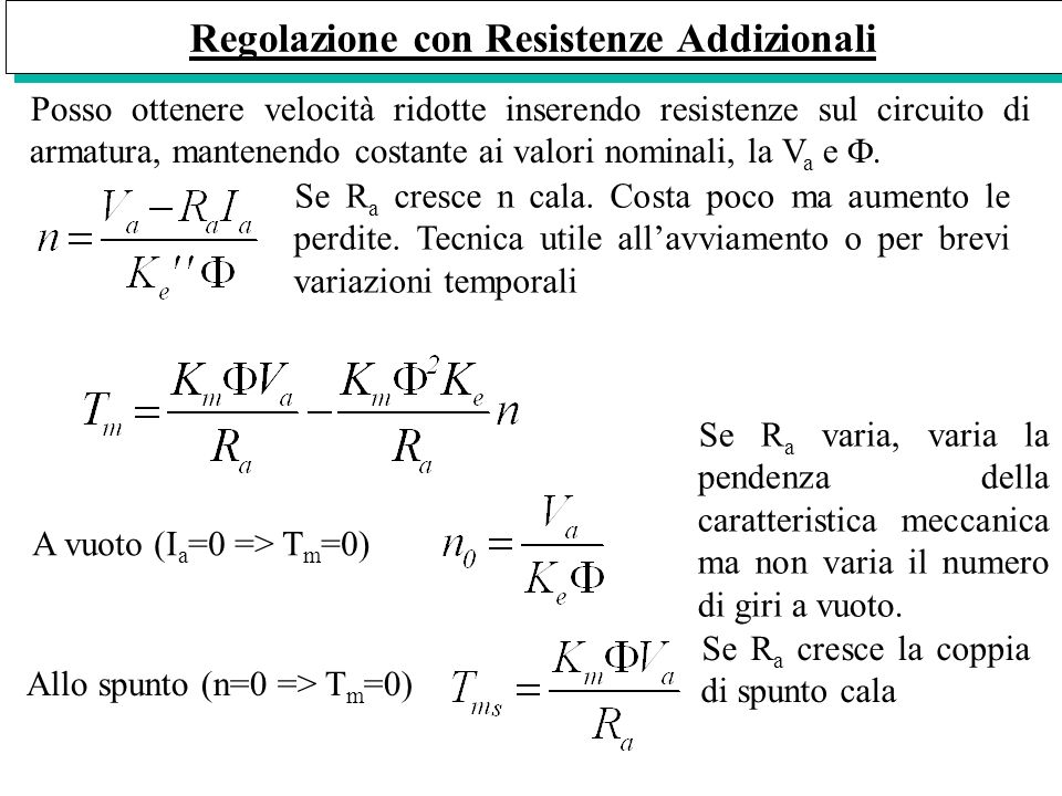 Regolazione con Resistenze Addizionali