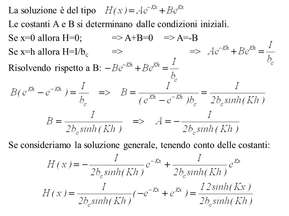 La soluzione è del tipo Le costanti A e B si determinano dalle condizioni iniziali. Se x=0 allora H=0; => A+B=0 => A=-B.