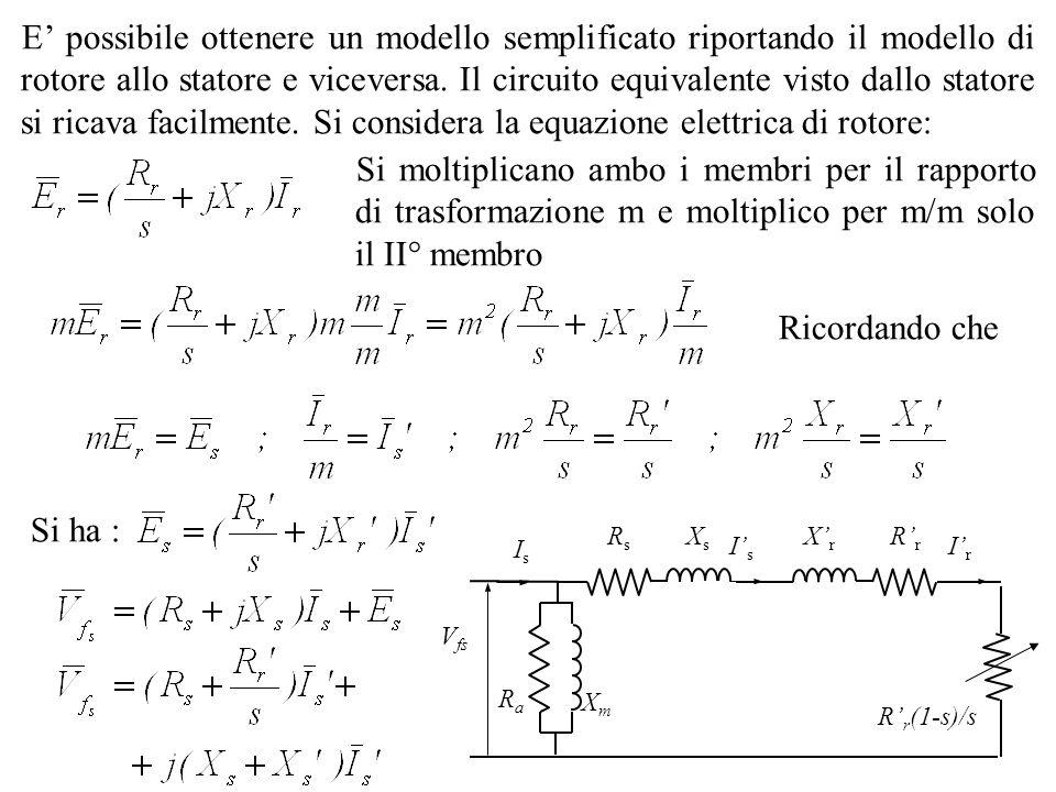 E' possibile ottenere un modello semplificato riportando il modello di rotore allo statore e viceversa. Il circuito equivalente visto dallo statore si ricava facilmente. Si considera la equazione elettrica di rotore: