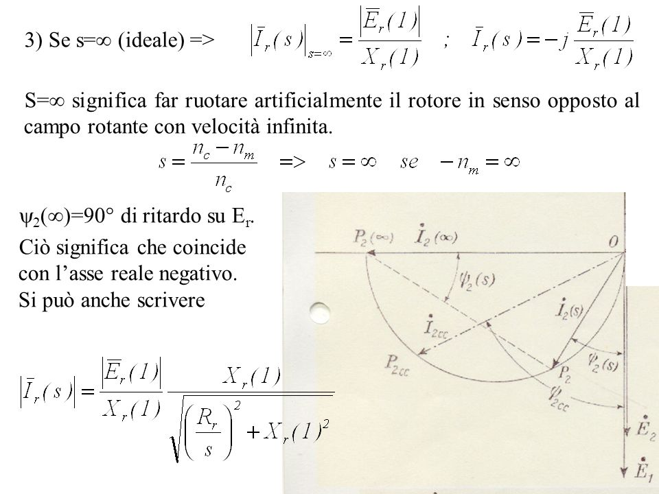 3) Se s= (ideale) =>S= significa far ruotare artificialmente il rotore in senso opposto al campo rotante con velocità infinita.