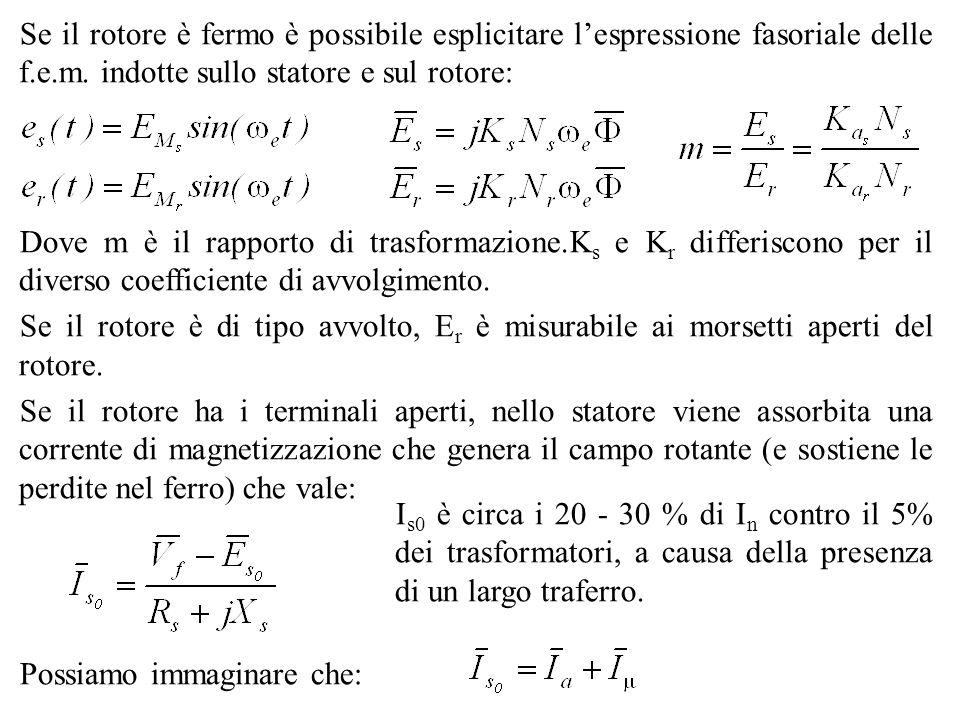 Se il rotore è fermo è possibile esplicitare l'espressione fasoriale delle f.e.m. indotte sullo statore e sul rotore: