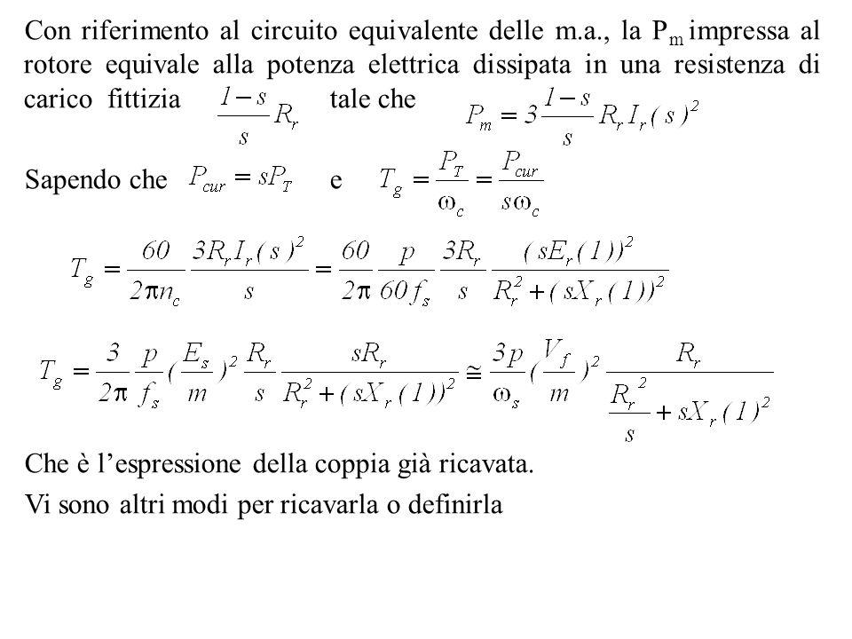 Con riferimento al circuito equivalente delle m. a
