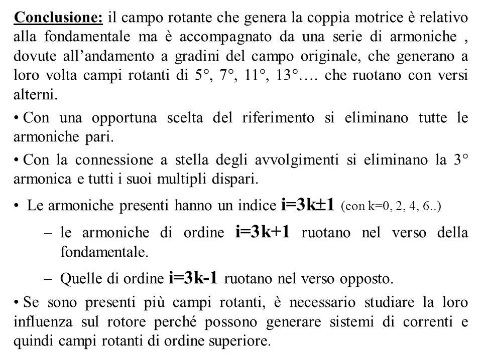 Conclusione: il campo rotante che genera la coppia motrice è relativo alla fondamentale ma è accompagnato da una serie di armoniche , dovute all'andamento a gradini del campo originale, che generano a loro volta campi rotanti di 5°, 7°, 11°, 13°…. che ruotano con versi alterni.