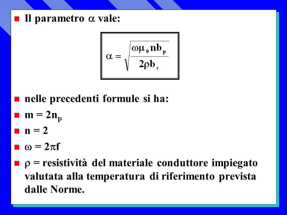 Il parametro  vale: nelle precedenti formule si ha: m = 2np. n = 2.  = 2f.