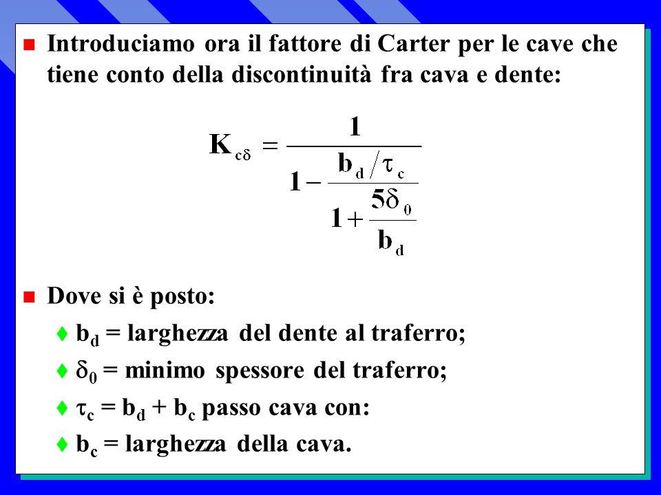 Introduciamo ora il fattore di Carter per le cave che tiene conto della discontinuità fra cava e dente: