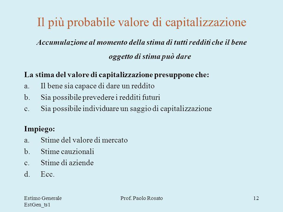 Il più probabile valore di capitalizzazione