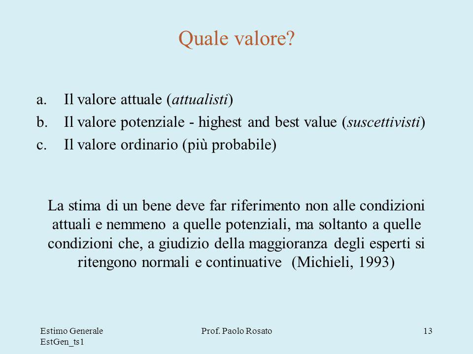 Quale valore Il valore attuale (attualisti)