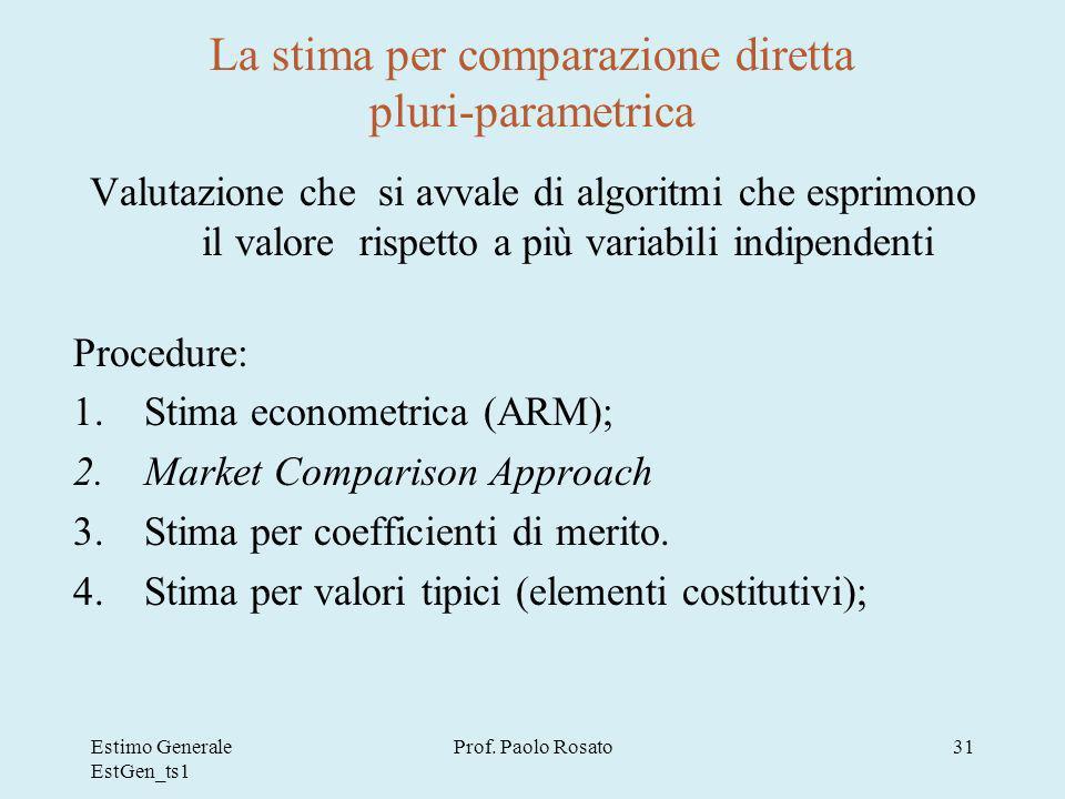 La stima per comparazione diretta pluri-parametrica