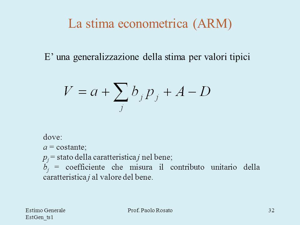 La stima econometrica (ARM)