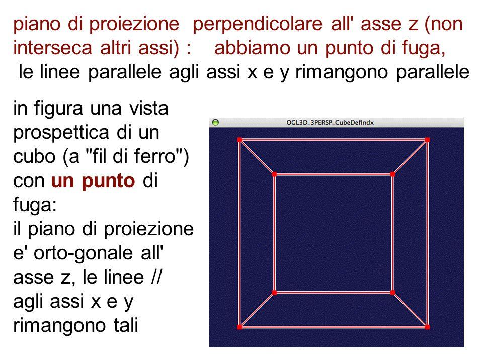 piano di proiezione perpendicolare all asse z (non interseca altri assi) : abbiamo un punto di fuga, le linee parallele agli assi x e y rimangono parallele