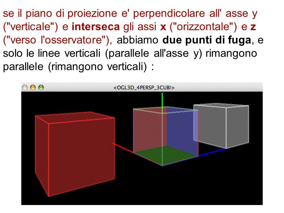 se il piano di proiezione e perpendicolare all asse y ( verticale ) e interseca gli assi x ( orizzontale ) e z ( verso l osservatore ), abbiamo due punti di fuga, e solo le linee verticali (parallele all asse y) rimangono parallele (rimangono verticali) :