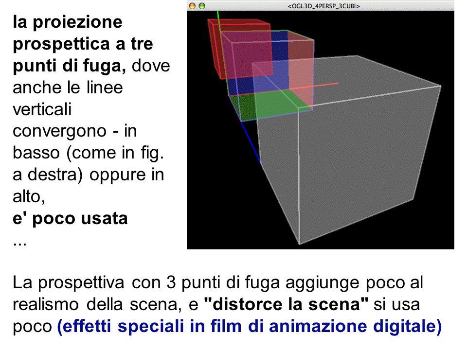 la proiezione prospettica a tre punti di fuga, dove anche le linee verticali convergono - in basso (come in fig. a destra) oppure in alto, e poco usata ...
