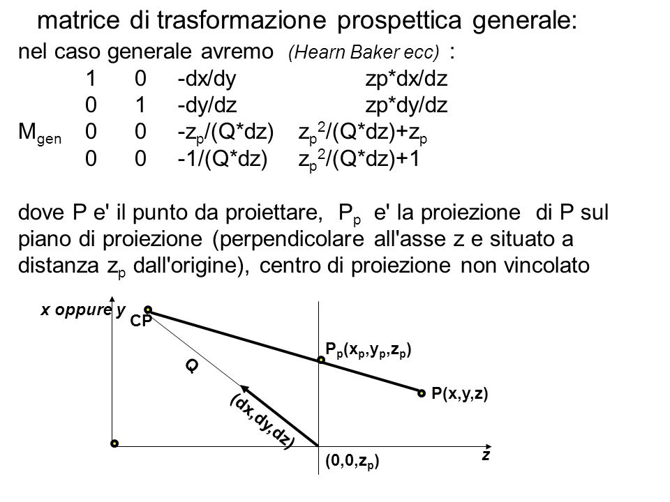 matrice di trasformazione prospettica generale: