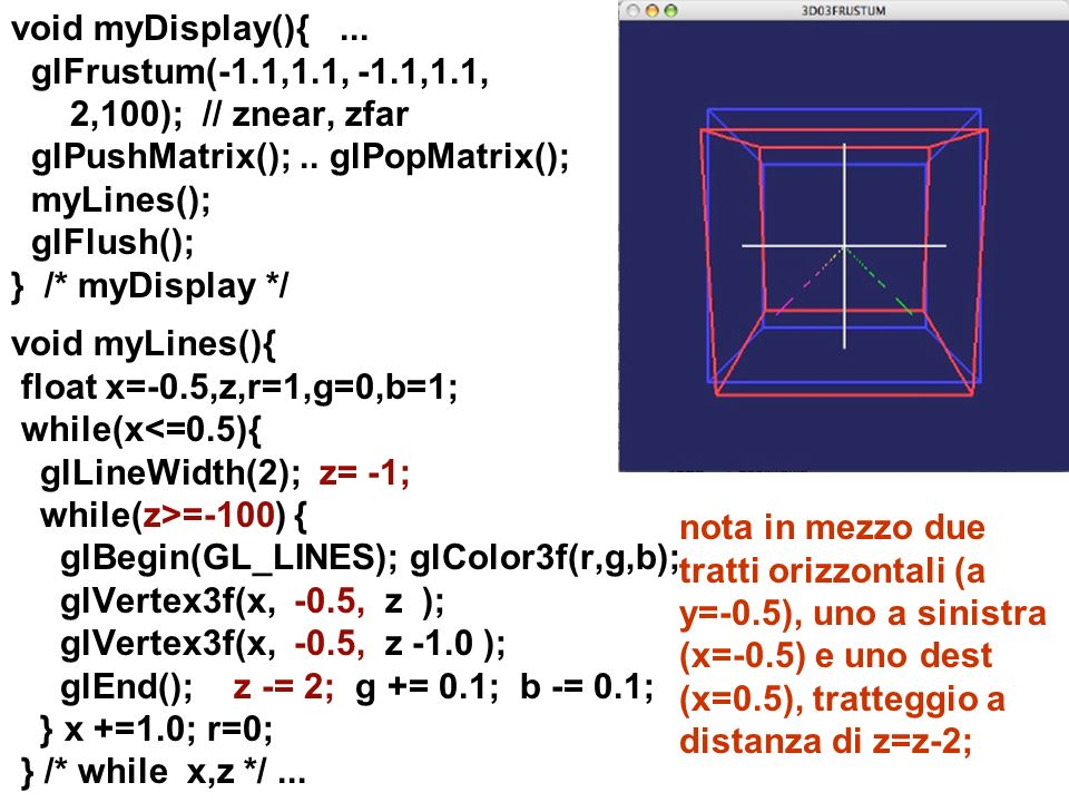 void myDisplay(){. glFrustum(-1. 1,1. 1, -1. 1,1