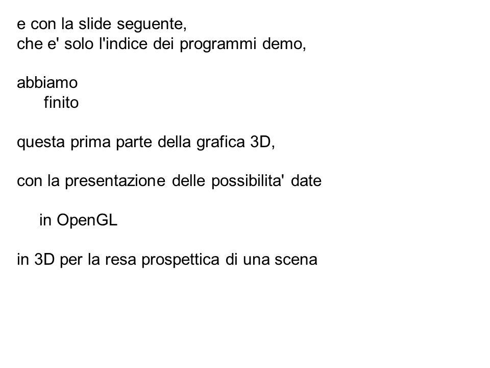 e con la slide seguente, che e solo l indice dei programmi demo, abbiamo. finito. questa prima parte della grafica 3D,