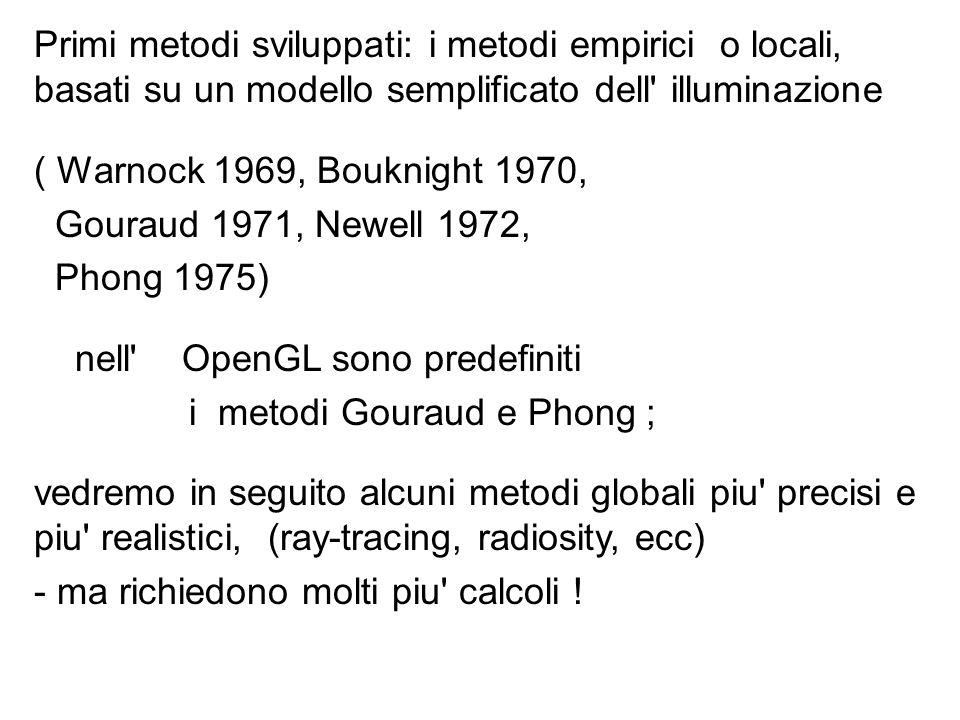 Primi metodi sviluppati: i metodi empirici o locali, basati su un modello semplificato dell illuminazione