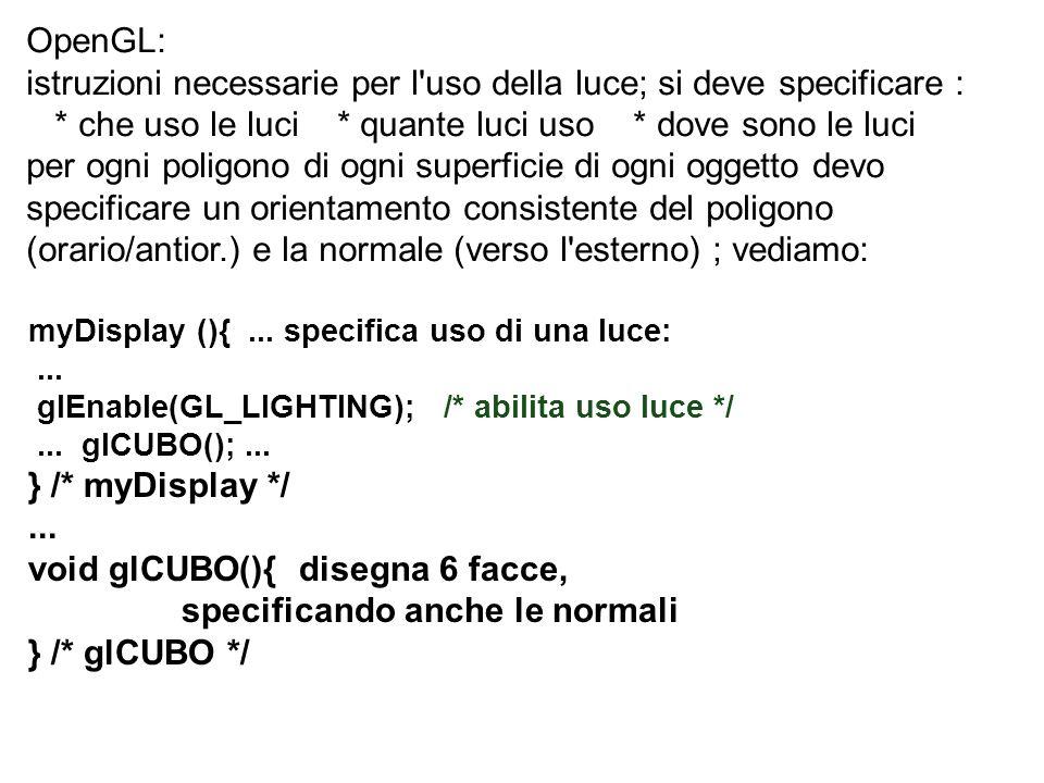 istruzioni necessarie per l uso della luce; si deve specificare :