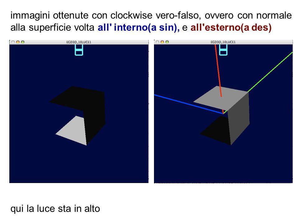 immagini ottenute con clockwise vero-falso, ovvero con normale