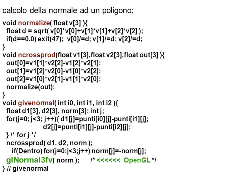 calcolo della normale ad un poligono:
