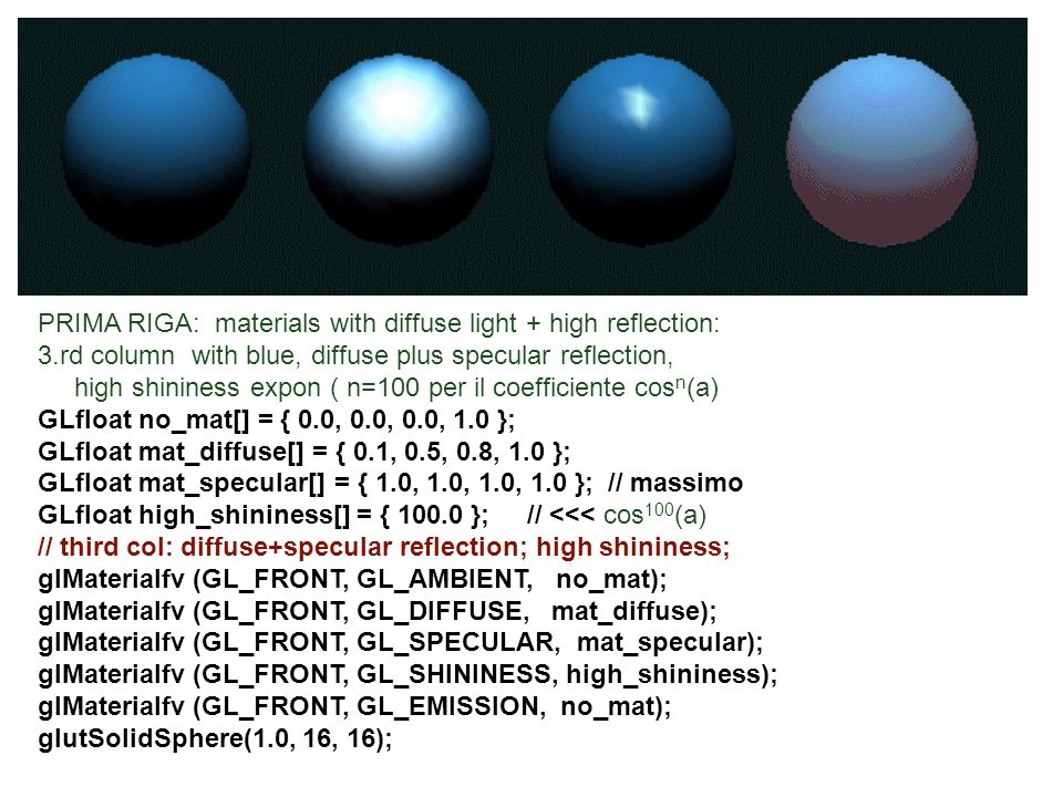 PRIMA RIGA: materials with diffuse light + high reflection: