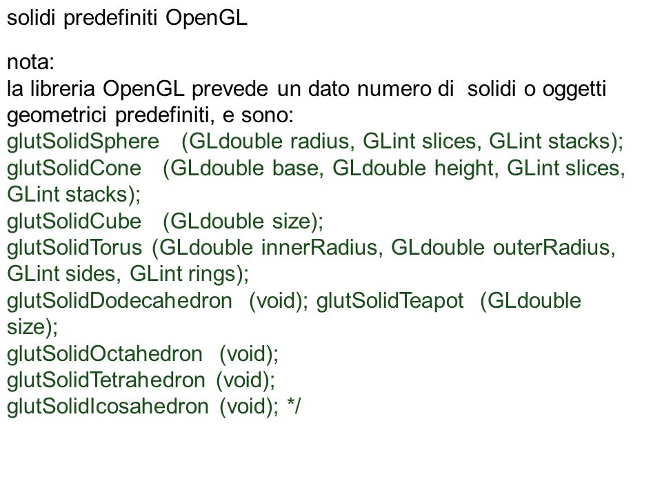 solidi predefiniti OpenGL