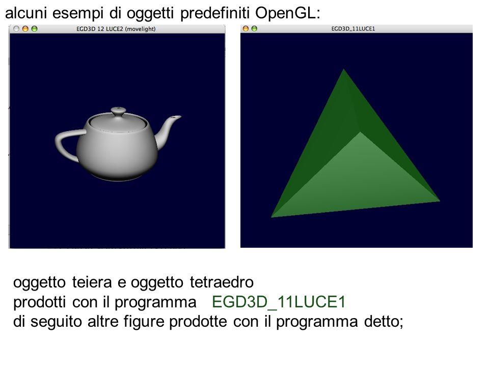 alcuni esempi di oggetti predefiniti OpenGL: