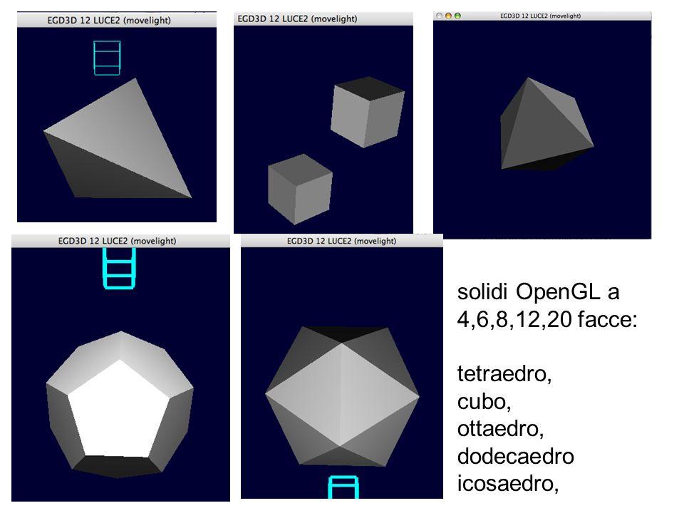 solidi OpenGL a 4,6,8,12,20 facce: tetraedro, cubo, ottaedro, dodecaedro icosaedro,