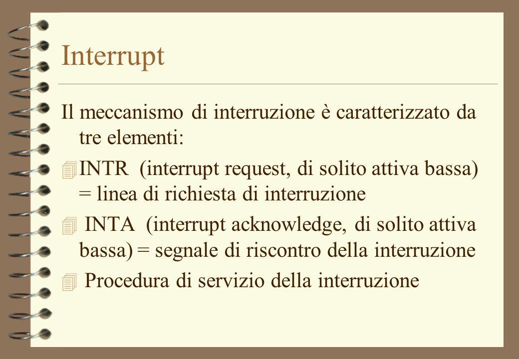 Interrupt Il meccanismo di interruzione è caratterizzato da tre elementi:
