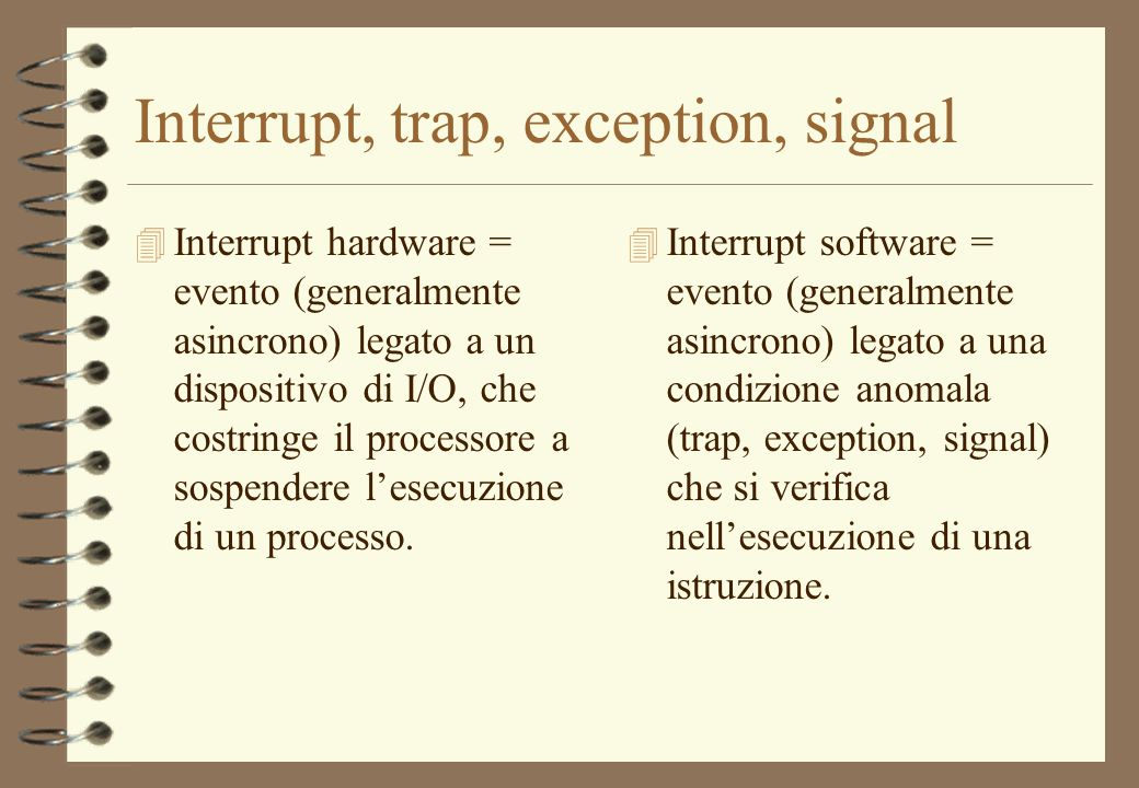Interrupt, trap, exception, signal
