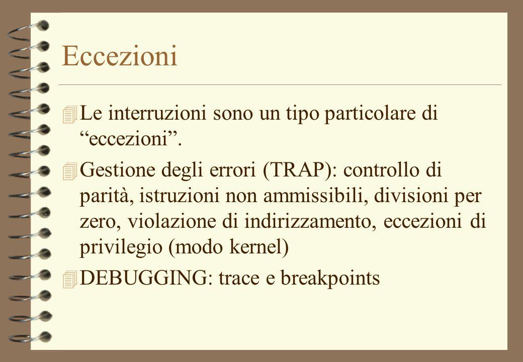 Eccezioni Le interruzioni sono un tipo particolare di eccezioni .