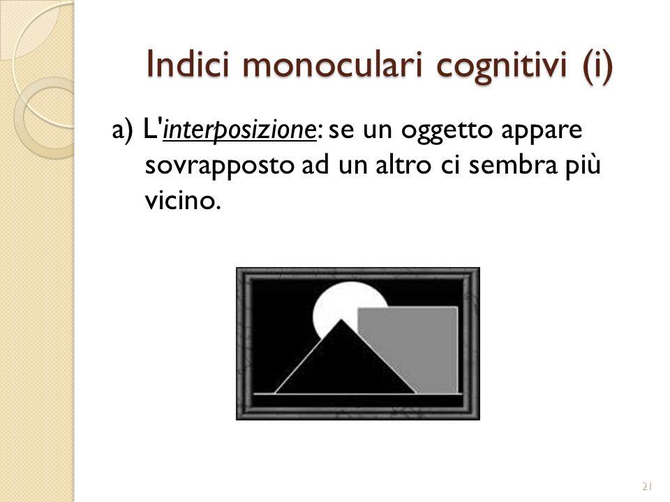 Indici monoculari cognitivi (i)