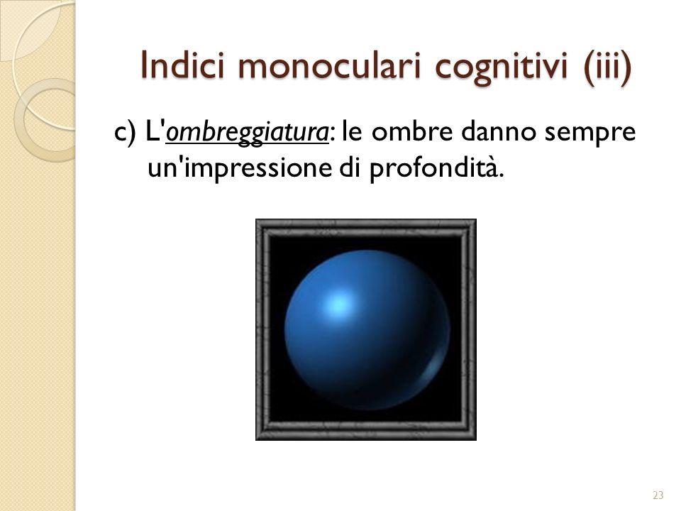 Indici monoculari cognitivi (iii)