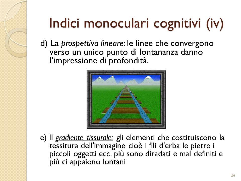 Indici monoculari cognitivi (iv)