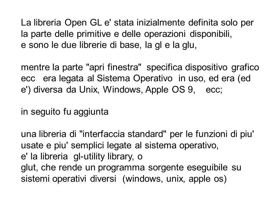 La libreria Open GL e stata inizialmente definita solo per la parte delle primitive e delle operazioni disponibili,