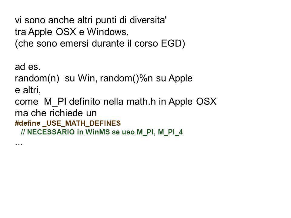 vi sono anche altri punti di diversita tra Apple OSX e Windows,