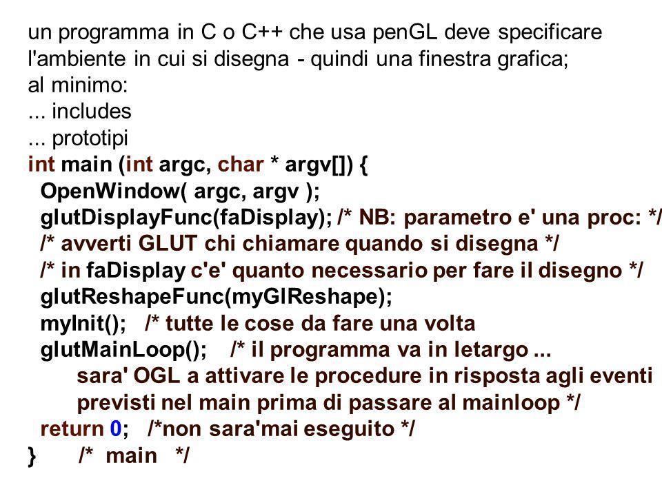 un programma in C o C++ che usa penGL deve specificare l ambiente in cui si disegna - quindi una finestra grafica;
