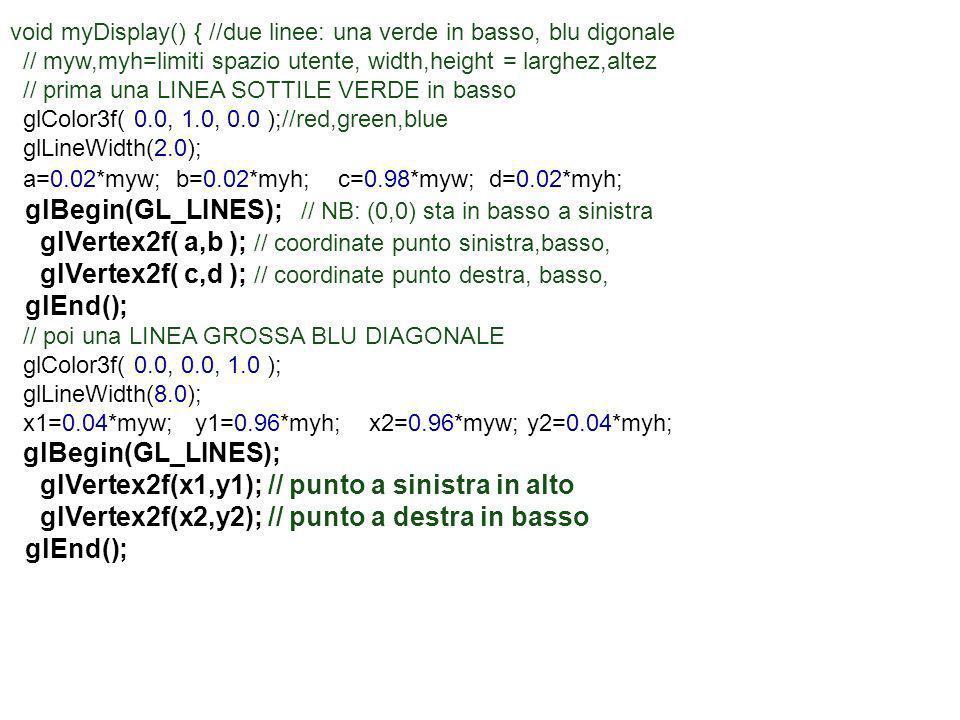 glBegin(GL_LINES); // NB: (0,0) sta in basso a sinistra