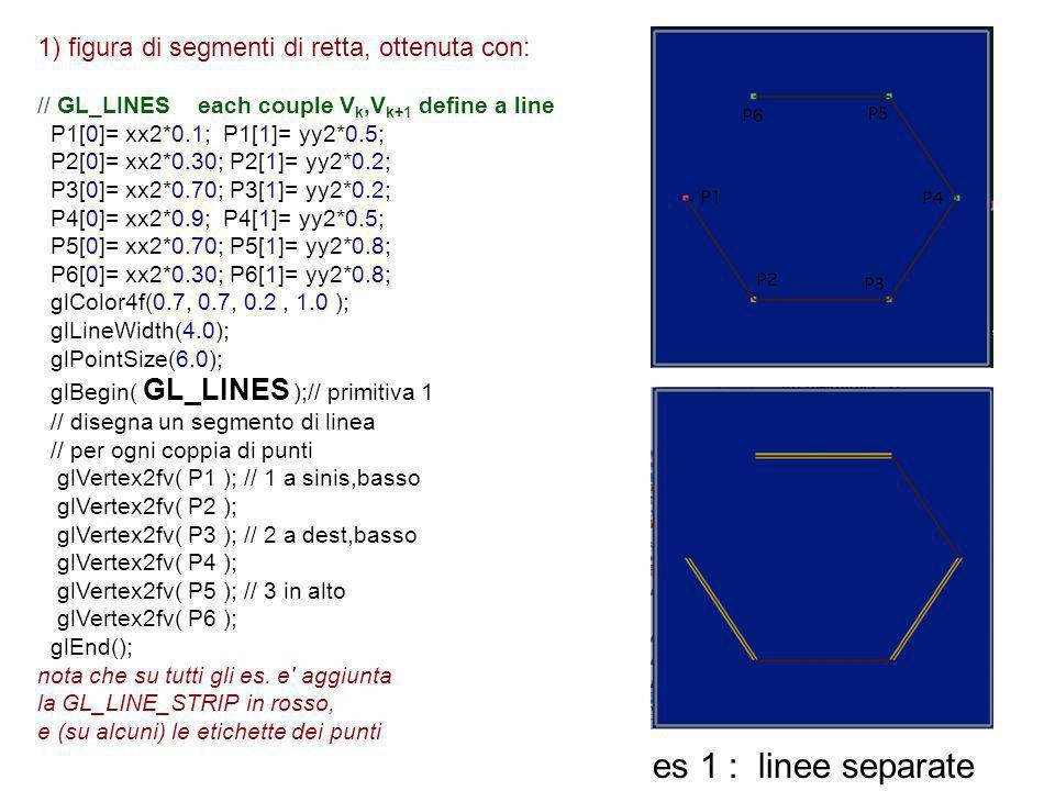 es 1 : linee separate 1) figura di segmenti di retta, ottenuta con:
