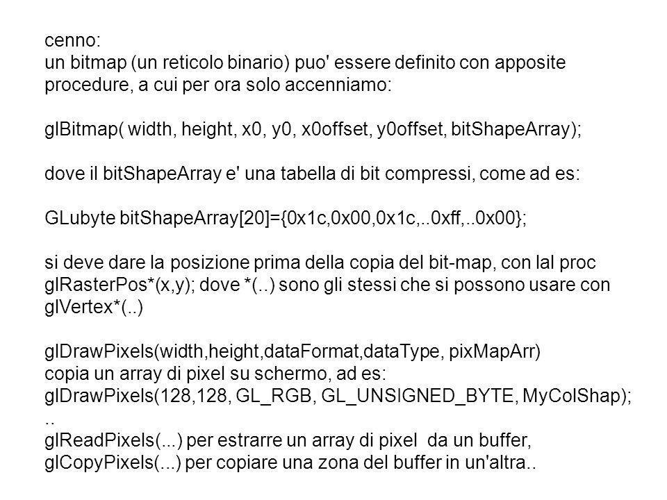 cenno: un bitmap (un reticolo binario) puo essere definito con apposite procedure, a cui per ora solo accenniamo: