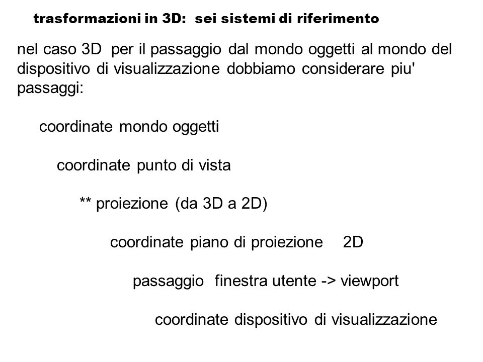 trasformazioni in 3D: sei sistemi di riferimento