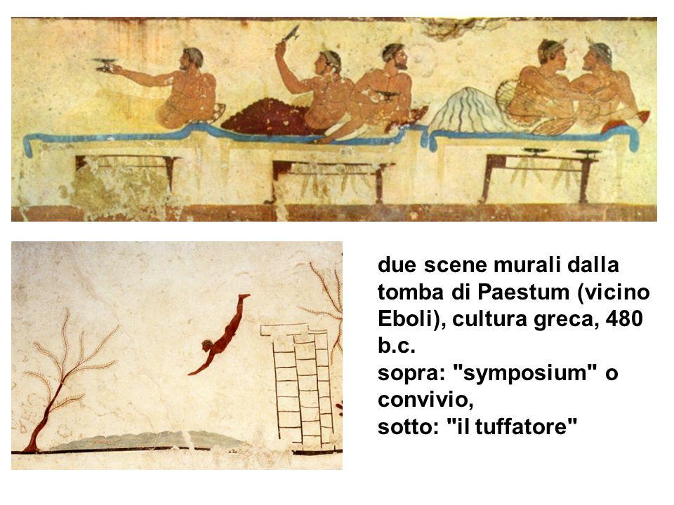 due scene murali dalla tomba di Paestum (vicino Eboli), cultura greca, 480 b.c.