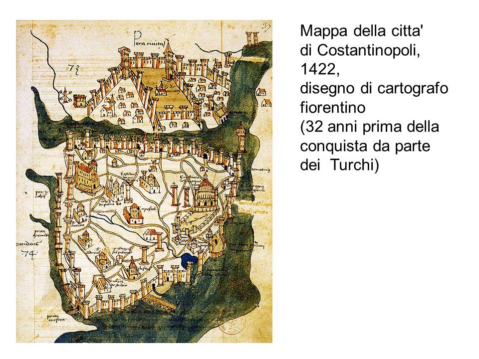 Mappa della citta di Costantinopoli, 1422, disegno di cartografo. fiorentino. (32 anni prima della.