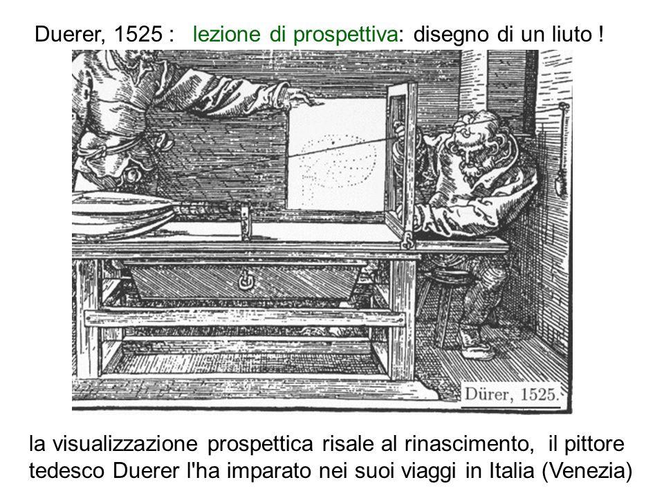 Duerer, 1525 : lezione di prospettiva: disegno di un liuto !