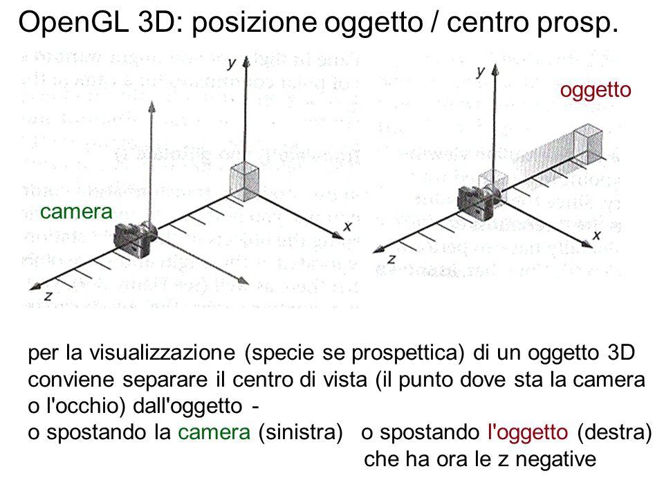 OpenGL 3D: posizione oggetto / centro prosp.