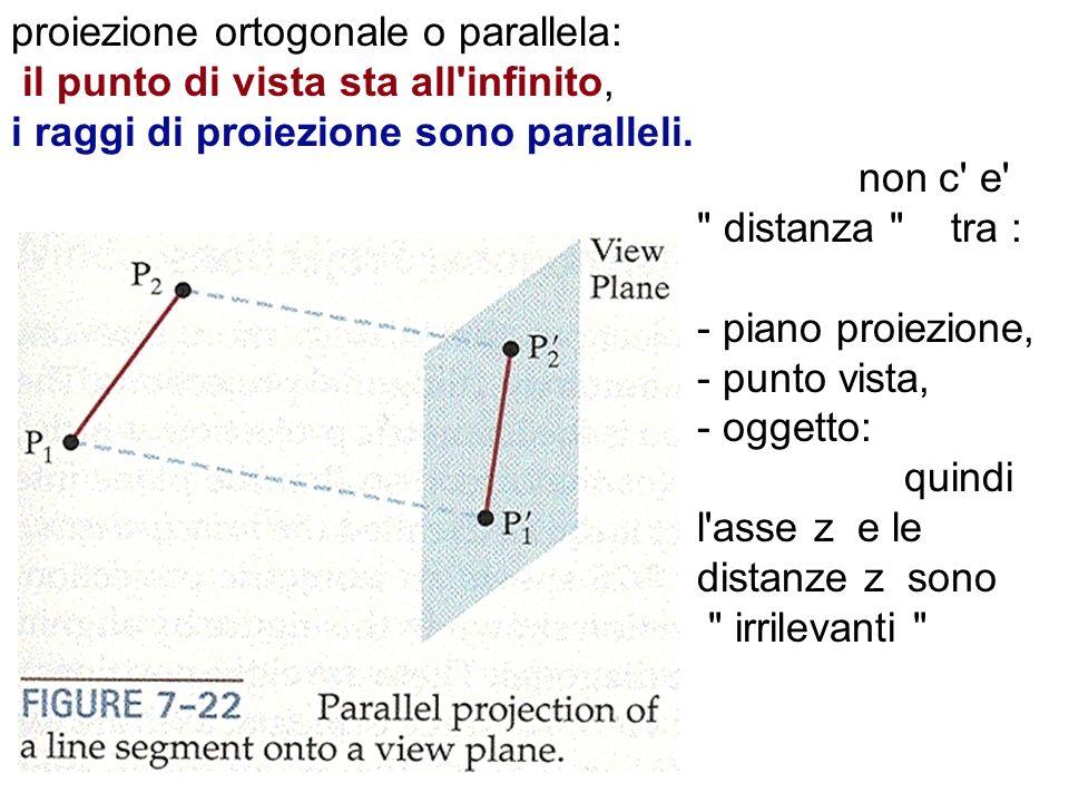 proiezione ortogonale o parallela: il punto di vista sta all infinito, i raggi di proiezione sono paralleli.