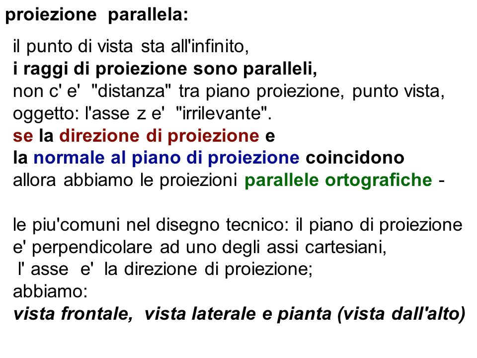proiezione parallela: