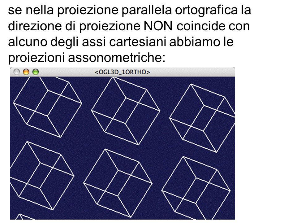 se nella proiezione parallela ortografica la direzione di proiezione NON coincide con alcuno degli assi cartesiani abbiamo le proiezioni assonometriche: