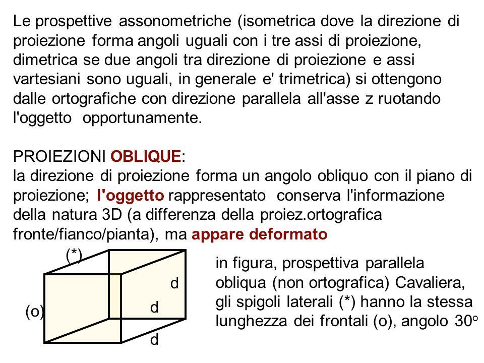Le prospettive assonometriche (isometrica dove la direzione di proiezione forma angoli uguali con i tre assi di proiezione, dimetrica se due angoli tra direzione di proiezione e assi vartesiani sono uguali, in generale e trimetrica) si ottengono dalle ortografiche con direzione parallela all asse z ruotando l oggetto opportunamente. PROIEZIONI OBLIQUE: la direzione di proiezione forma un angolo obliquo con il piano di proiezione; l oggetto rappresentato conserva l informazione della natura 3D (a differenza della proiez.ortografica fronte/fianco/pianta), ma appare deformato